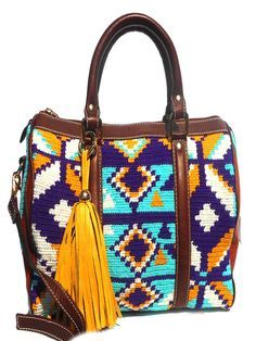 Artisan crafted handbag, woven tribal Wayuu fabric, tassel detail and adjustable shoulder strap