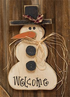 Wooden snowman with black buttons, wall or door hanging KP Creek Gifts - Welcome Buttons Snowman, Wooden Christmas Crafts, Snowman Christmas Decorations, Primitive Christmas, Christmas Signs, Christmas Snowman, Rustic Christmas, Christmas Projects, Winter Christmas, Holiday Crafts