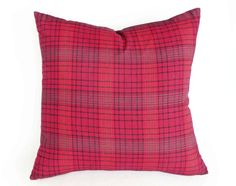 Red Plaid Christmas Throw Pillows by PillowThrowDecor