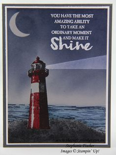 www.thecraftythinker.com.au, High Tide, Night scene, lighthouse, #thecraftythinker, Stampin Up