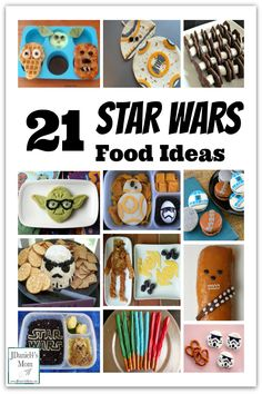 21 Star Wars Food Ideas- They would make fun meals, snacks, party food or movie viewing treats. when you have a home Star Wars marathon watch party. Star Wars Themed Food, Star Wars Food, Star Wars Day, Star Wars Party Food Snacks, Kid Snacks, Star Wars Essen, Food Themes, Food Ideas, Anniversaire Star Wars