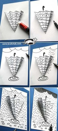 parapluie et graphisme - Art For Kids, Crafts For Kids, Arts And Crafts, Paper Crafts, Children Crafts, Art Children, Art Lessons For Kids, Spring Art, Spring Crafts