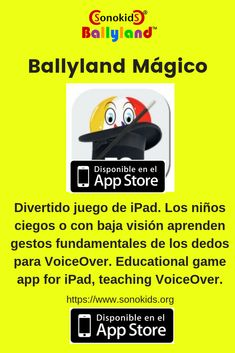Divertido juego de iPad que da a los niños ciegos o con baja visión los conocimientos necesarios para usar un iPad u otro dispositivo móvil con pantalla táctil iOS a través de VoiceOver. Educational game app teaching blind ir visually impaired children VoiceOver concepts and gestures. Educational Software, Best Ipad, Core Curriculum, Early Learning, Apps, Student, United Nations, Blind, Kids Learning