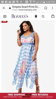 Scarf dress, $79. Roamans Sp 2018.  https://www.roamans.com/products/empire-scarf-print-dress/1029968.html#q=Scarf%2Bdress&lang=default&searchplaceholder=Search&dwvar_1029968_color=1401&start=1