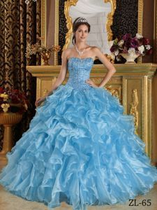 7827f0bdae9 Chic Ice Blue Ruffles Appliques Bodice Sweet Sixteen Dresses Blue Ball Gowns