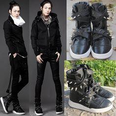 Black Leather Bullet Studded Punk Fashion Battle Boots Men Mens SKU-1280013