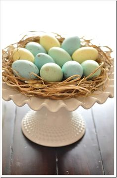 Easter centerpiece idea from the collection at sandandsiesal.com. Less Is More, Holiday Decorating, Milk Glass, Eggs, Egg As Food, Egg