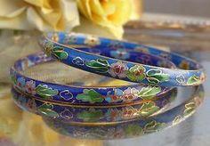 SOLD 2pc Lot Chinese Asian CLOISONNE Floral Bangle BRACELETS 24k Gold Wire & Enamel