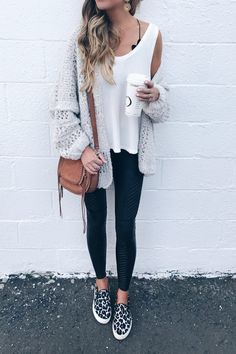 style leather leggings outfits - casual athleisure styled with oversized Free People cardigan on pinterestingplans