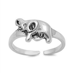 Sterling Silver Elephant Mid Finger / Mid Knuckle Ring - 12mm