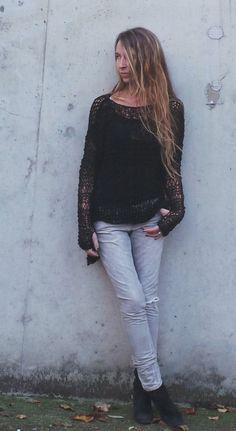 übergroßen schwarzen Pullover lose gewebtes von ileaiye auf Etsy
