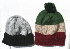 Instructions for Knitted Scrap Hats - using leftover yarn