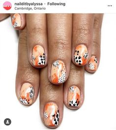 133 leopard nails design ideas to try this fall – page 5 Leopard Nail Designs, Nail Design Glitter, Leopard Nails, Gel Nail Art Designs, Nails Design, Orange Nail Art, Orange Nails, Minimalist Nails, Cute Nails