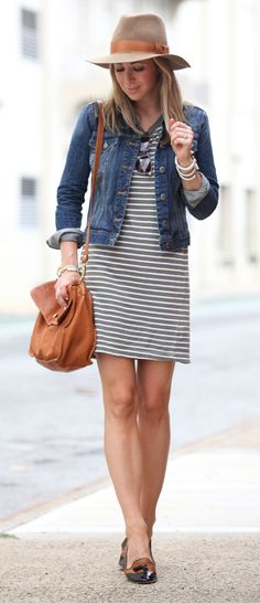striped dress + denim jacket + hat