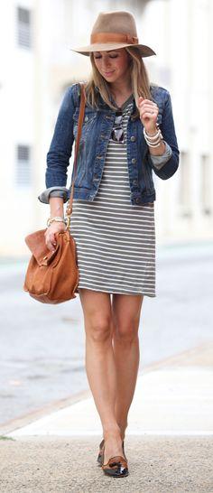 striped dress + denim jacket + hat