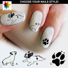 Nice French bulldog, French bulldog, Decal, 60 Waterslide stickers Decal Nail, three size