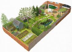 Eplan Landschaftsplan – Eplan Wassergarten Landsch… - New ideas Small Garden Plans, Garden Design Plans, Landscape Design Plans, Home Garden Design, Small Garden Design, Narrow Garden, Small Garden Layout, Backyard Garden Design, Decorative Garden Fencing