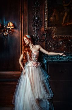 Fantasy art editorial photography red hair girl, female full body haute couture luxury high fashion editorial portrait in the old baroque wooden hall. Fantasy Photography, Fashion Photography, Red Photography, Editorial Photography, Wedding Photography, Photography Courses, Beauty Editorial, Editorial Fashion, Ginger Hair
