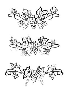 Grape branchs and leaves tattoo ~ thinking about a tiny version of the bottom one if I do the Disney Wine & Dine Half Marathon! Wood Burning Crafts, Wood Burning Patterns, Stencil Patterns, Pattern Art, Quilting Designs, Embroidery Designs, Wine Tattoo, Première Communion, Wine Signs