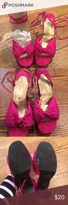 "Chinese Laundry Sweetie Heels 👠 Chinese Laundry Sweetie Heels 👠 These hot pink heels feature a 1"" platform and 4"" heel with a sling back strap and strap to lace up the calf! They have some wear which is pictured. Chinese Laundry Shoes Heels"