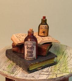 Dollhouse Mini 1:12 ~ Witch's Kitchen, Spell Books, Potions Hauntet OOAK IGMA