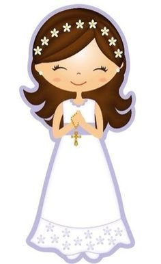 First Holy Communion First Communion Party, First Holy Communion, Girl Clipart, Communion Invitations, Clip Art, Christening, Paper Dolls, Decoupage, Creations