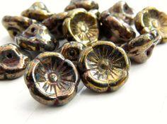 Pharaoh - 12mm dark bronze garland button flowers (10), copper flower beads, red czech glass beads, czech beads,