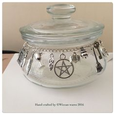 Apothecary Jar Hand Embellished Wiccan/pagan. OOAK | eBay #witch #Wiccan #Wicca #pagan #occult #charms  #Ooak   #tigerseye #malachite   £8.00 plus p&p