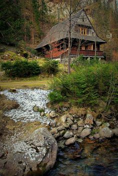Cabins and Cottages: Great rustic home: charm, porch, stream, woods, ye. Beautiful Homes, Beautiful Places, Little Cabin, Log Cabin Homes, Log Cabins, Rustic Cabins, Cabins And Cottages, Cabins In The Woods, Belle Photo