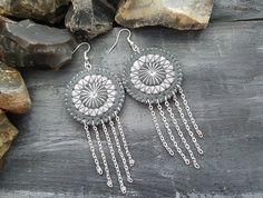 Grey leather earrings. Boho earrings. Bohemian by VelmaJewelry