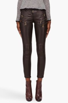 Balmain : leather leggings