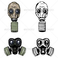 Gas Mask by nikiteev vector gas mask and respirator. Color and lineart variations.