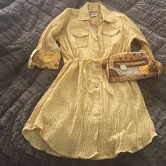 Sundress & matching clutch! Very lightweight yellow sundress or beach coverup with flower details on 3/4 sleeve cuff. Matching leather and canvas clutch! NWOT Spartina449 Dresses Long Sleeve