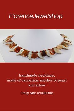 Orange, off white gemstone beaded necklace / choker, (hand)made of carnelian, mother of pearl, Thai silver and silver chips, finished with a magnetic clasp. Perfect necklace for those women who love the fall colors. The beads have a leaf / petal shape. You can wear this necklace on any occasion and looks perfect on white, brown and very dark blue.? 85. Learn more:  www.etsy.com/...