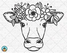 Cow Drawing Easy, Easy Drawings, Flower On Head, Flower Crown, Cow Tattoo, Highland Cow Print, Cow Face, Cow Painting, Desenho Tattoo