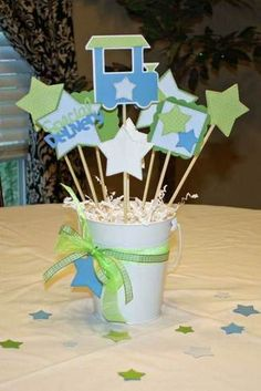 bucket centerpieces for baby shower - Google Search