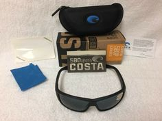 00147ae7ca NEW Costa Del Mar Cat Cay Polarized Sunglasses Blackout Gray 580P AT 01 OGP  580