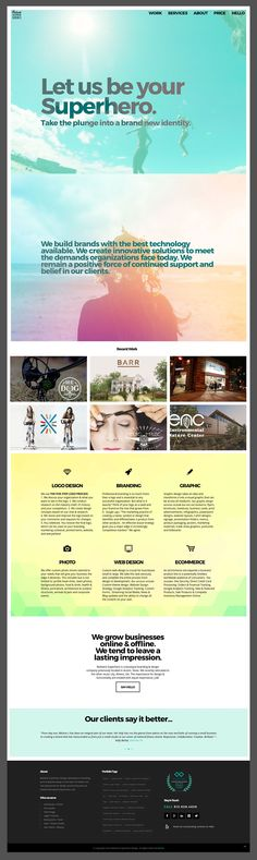 Design Agency Website Design  using gradients, water, summer, border, bold text and transparency. Pastel, bright, yellow, gradient website, turquoise web development.