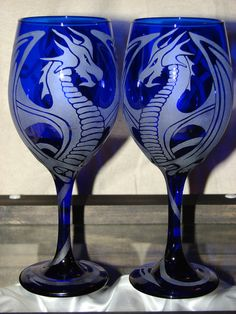 Hand Etched Cobalt Blue Dragon Wine by dragonflydesignsbykb, $200.00