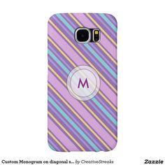 Custom Monogram on diagonal stripes Samsung Galaxy S6 Cases