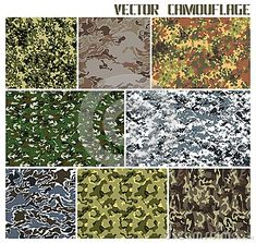Eight different vector camouflages. forest and urban. with a minimum number of layers Stepping Stones, Camouflage, Layers, Urban, Number, Outdoor Decor, Home Decor, Layering, Stair Risers