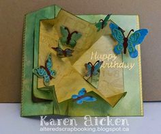 Karen Aicken using the Pop it Ups Rectangle Pull Card and Butterfly Accessory dies by Karen Burniston for Elizabeth Craft Designs. - Altered Scrapbooking: Rectangle Pull Card with Butterflies