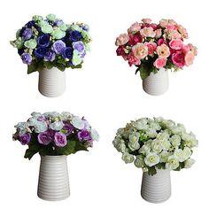 NewArtificial Mini Rose Bunch Silk Flower Bouquet Home Wedding Party FloralDecor
