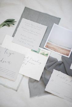 Whisper | Modern Calligraphy Wedding Invitation | August & Osceola | Modern, Minimal, Deckle Edge