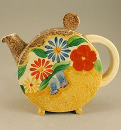 Clarice Cliff, Bizarre, Canterbury Bell pattern, teapot