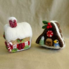Set the mood for holiday cheer with these cute little felted gingerbread house Christmas ornament Both gingerbread houses are full of details,