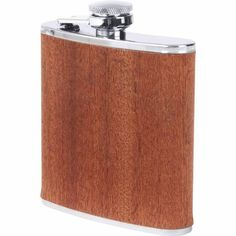 6oz Stainless Steel Flask with Sapele Wood Wrap