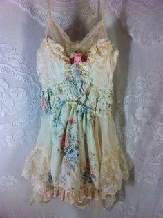 Sale Upcycled clothing Small-Medium Fairy Dress Altered Vintage Slip Dress Boho Dress Tattered Dress  Upcycled Pixie Gypsy Beach