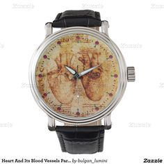 Heart And Its Blood Vessels Parchment Brown Wrist Watches