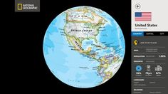 World Atlas by National Geographic // Unlike other map applications, the World Atlas by National Geographic utilizes our highest resolution map images, providing you the same rich detail, accuracy, and artistic beauty found in our award-winning wall maps and bound atlases. The app is preloaded with 3 different styles of world maps, down to country-level detail. Wall Maps, Windows 8, National Geographic, Social Studies, Geography, Language, Apps, The Unit, Graphics